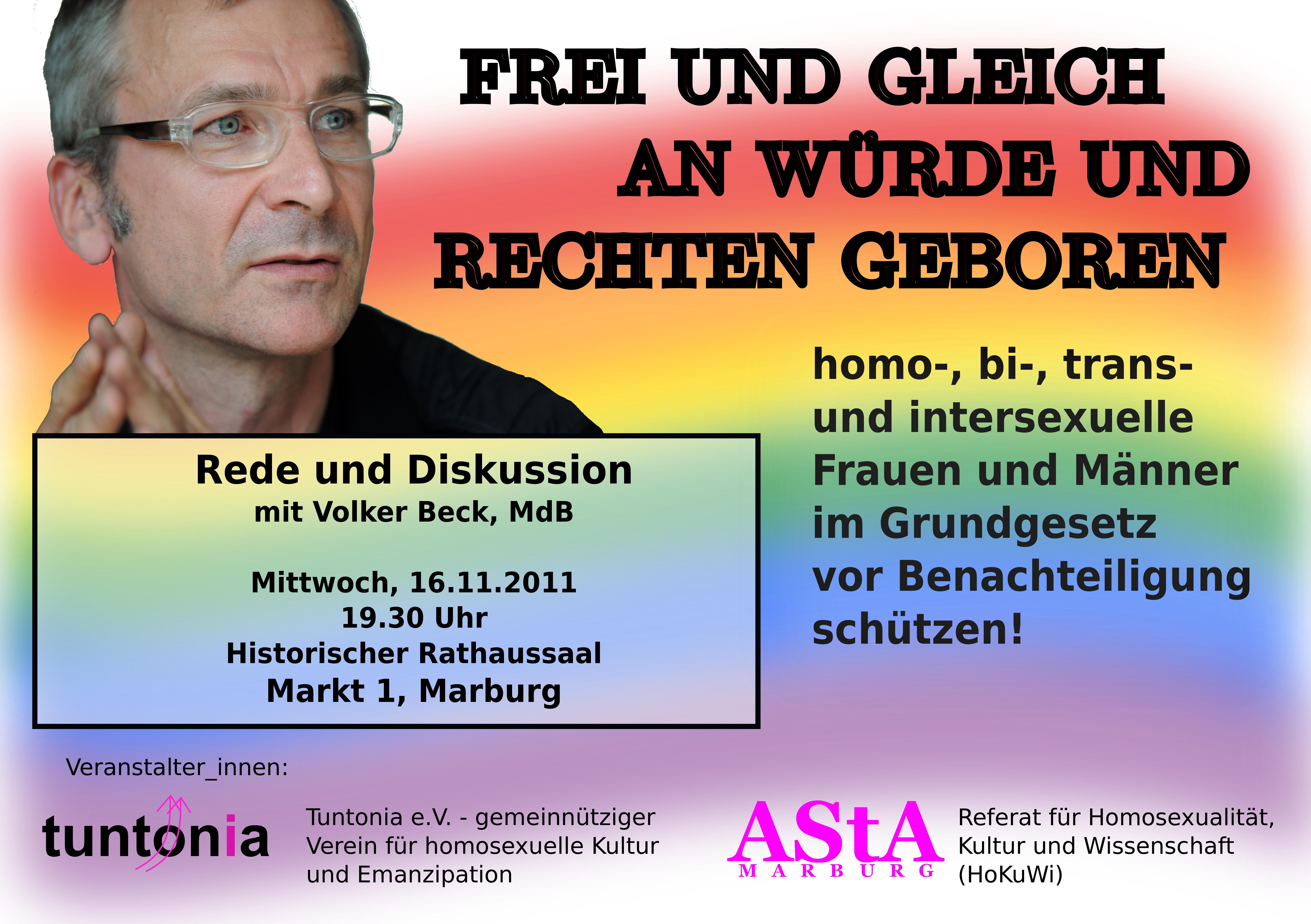 Plakat Veranstaltung mit Volker Beck